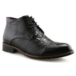 Tie Up PU Leather Embossed Boots - BLACK