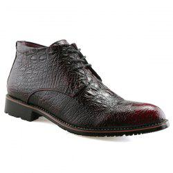 Tie Up PU Leather Embossed Boots - WINE RED