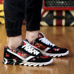 Colour Spliced Print Tie Up Athletic Shoes -