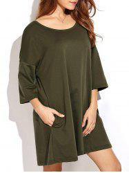 Slightly High Low Hem Relaxed T Shirt Dress
