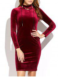 Long Sleeve Mini Velvet Dress