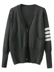 Single Breasted Striped Sleeve Cardigan - GRAY XL