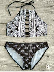 Halter Lace Up Patterned Bikini Set