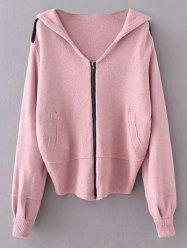 Hooded Zippered Cardigan -