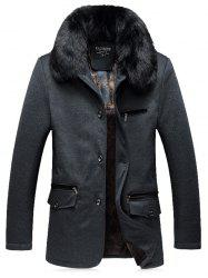 Faux Fur Collar Thicken Single Breasted Flocking Quilted Jacket - GRAY 5XL