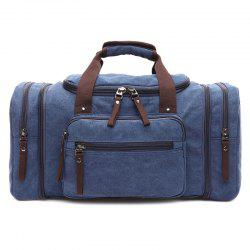 Multi Zips Canvas Weekend Bag - BLUE