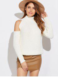 Funnel Neck Cold Shoulder Sweater