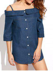 Off Shoulder Mini Chambray Button Up Jean Tunic Dress -