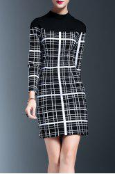 Stand Collar Plaid Panel Bodycon Dress