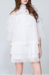 Mesh Pleated See Through Tiered Dress - WHITE L