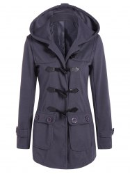 Hooded Flap Pockets Duffle Coat