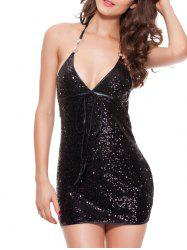 Halter Backless Sparkly Tight Mini Club Dress - Noir