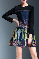 Embroidered Panel A Line Dress -