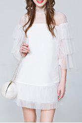 Mini See Through Tiered Dress - WHITE S