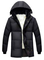 Hooded Plus Size Thicken Flocking Zip Up Down Coat -