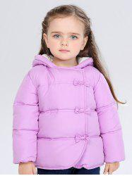 Kids Hooded Bowknot Puffer Jacket -