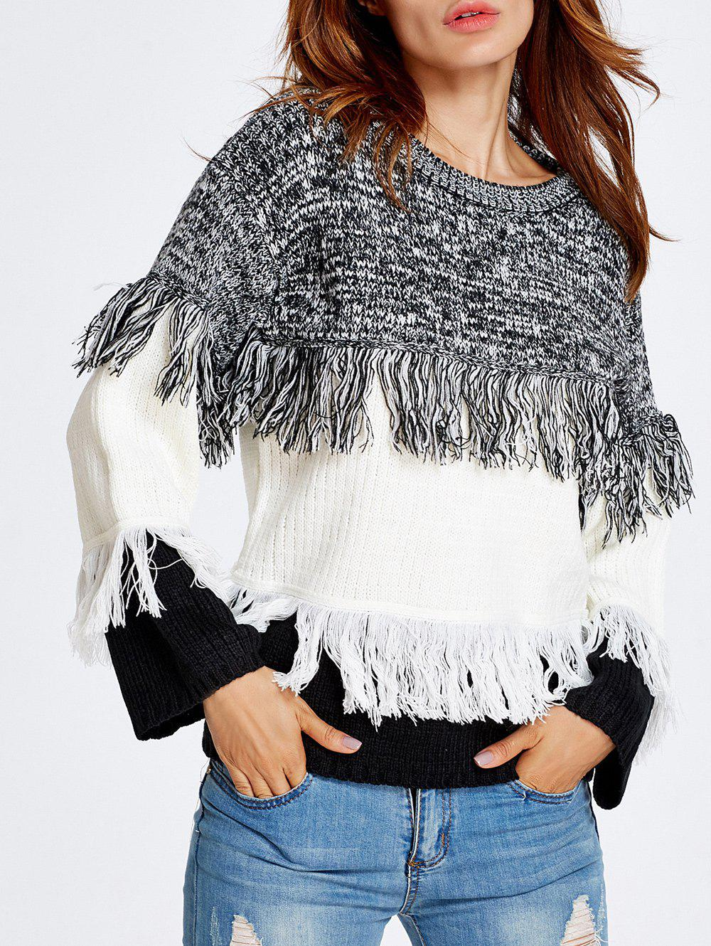 Cheap Warm Color Block Fringed Sweater
