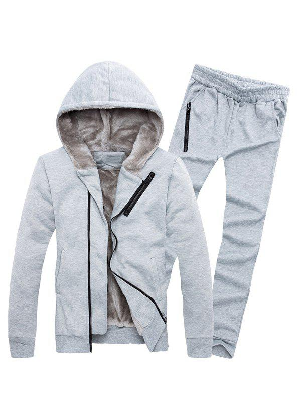 Zipper Embellished Color Block Hoodie TwinsetMEN<br><br>Size: M; Color: LIGHT GRAY; Material: Cotton Blends; Shirt Length: Regular; Sleeve Length: Full; Style: Active; Weight: 1.3540kg; Package Contents: 1 x Hoodie  1 x Sweatpants;
