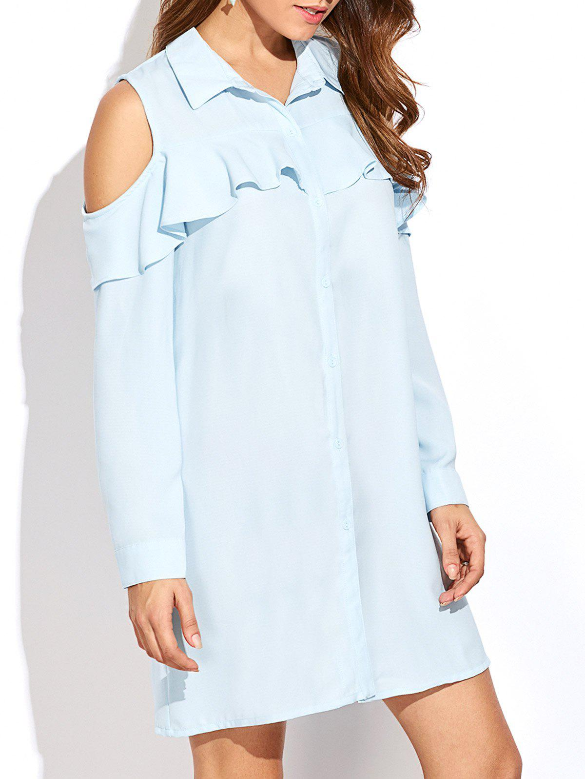Unique Cold Shoulder Shirt Tunic Dress With Frill