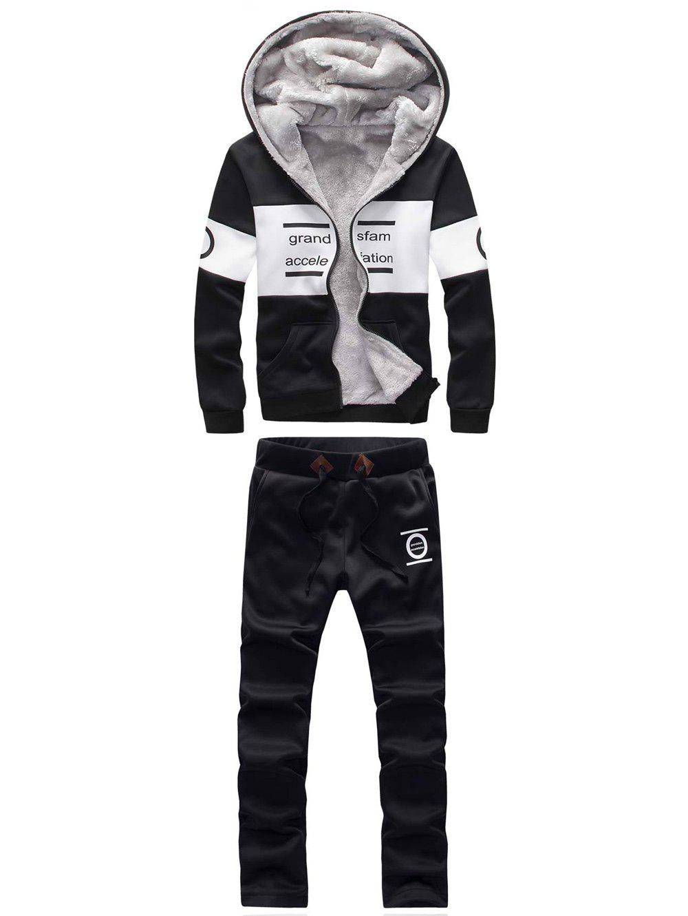 Zip Up Graphic Printed Hoodie TwinsetMEN<br><br>Size: M; Color: BLACK; Material: Cotton Blends; Shirt Length: Regular; Sleeve Length: Full; Style: Active; Weight: 1.050kg; Package Contents: 1 x Hoodie  1 x Sweatpants;