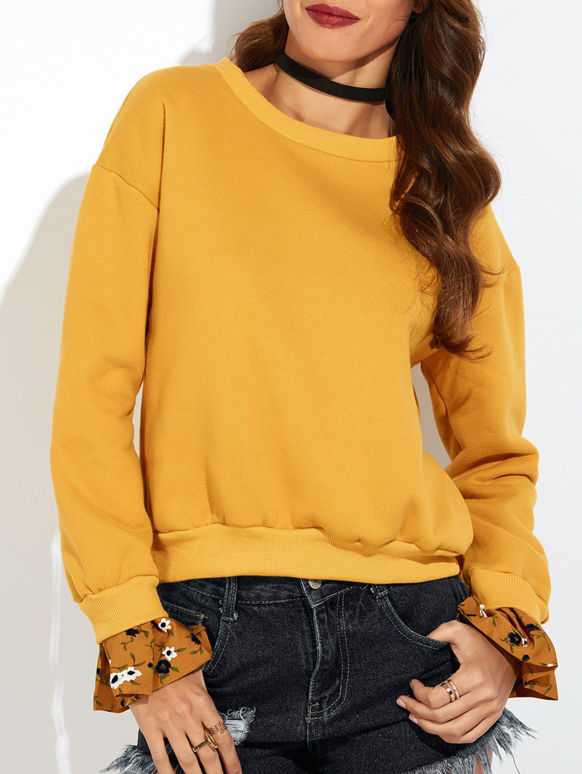 Best Bell Sleeve Pullover Orange Sweatshirt