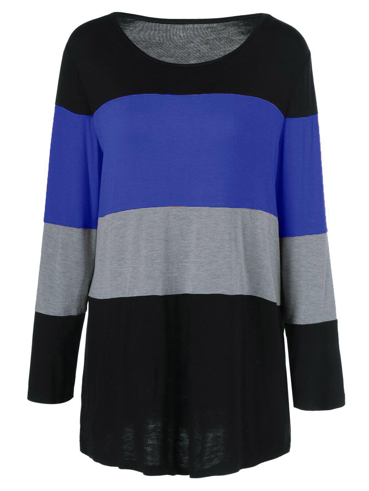 Plus Size Colorful Striped Comfy T-ShirtWOMEN<br><br>Size: 2XL; Color: BLUE; Material: Polyester,Spandex; Shirt Length: Long; Sleeve Length: Full; Collar: Scoop Neck; Style: Casual; Season: Fall,Spring; Pattern Type: Striped; Weight: 0.313kg; Package Contents: 1 x T-Shirt;