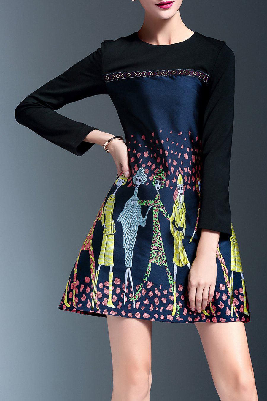 New Embroidered Panel A Line Dress