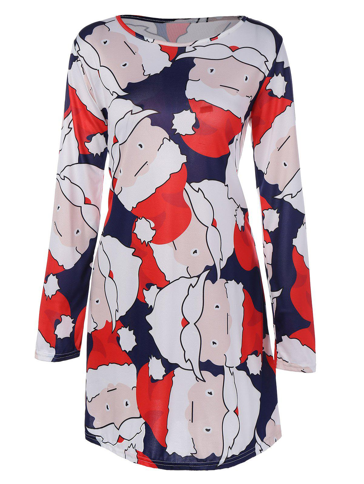 Santa Claus Christmas DressWOMEN<br><br>Size: L; Color: DEEP BLUE; Style: Brief; Material: Spandex; Silhouette: A-Line; Dresses Length: Mini; Neckline: Jewel Neck; Sleeve Length: Long Sleeves; Pattern Type: Print; With Belt: No; Season: Fall,Spring,Winter; Weight: 0.216kg; Package Contents: 1 x Dress;