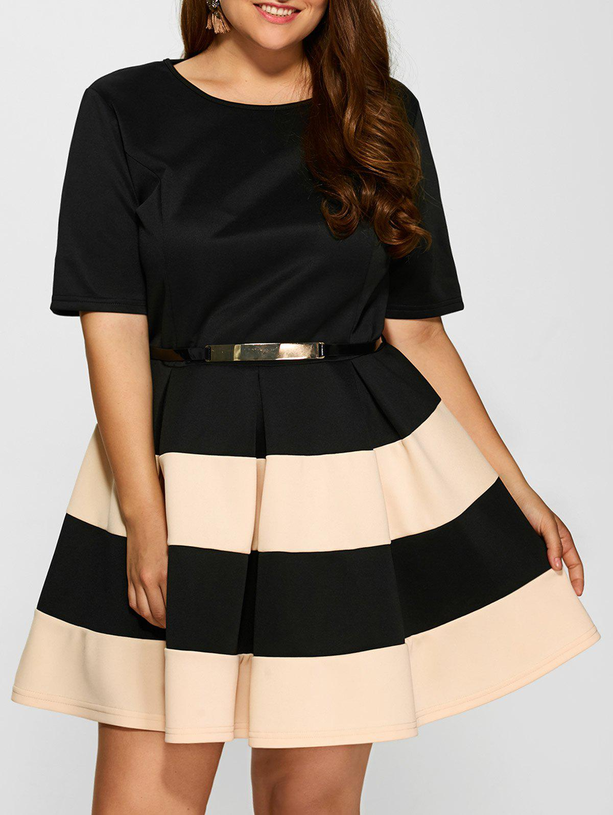 Affordable Plus Size Belted Striped Pleated Skater Dress