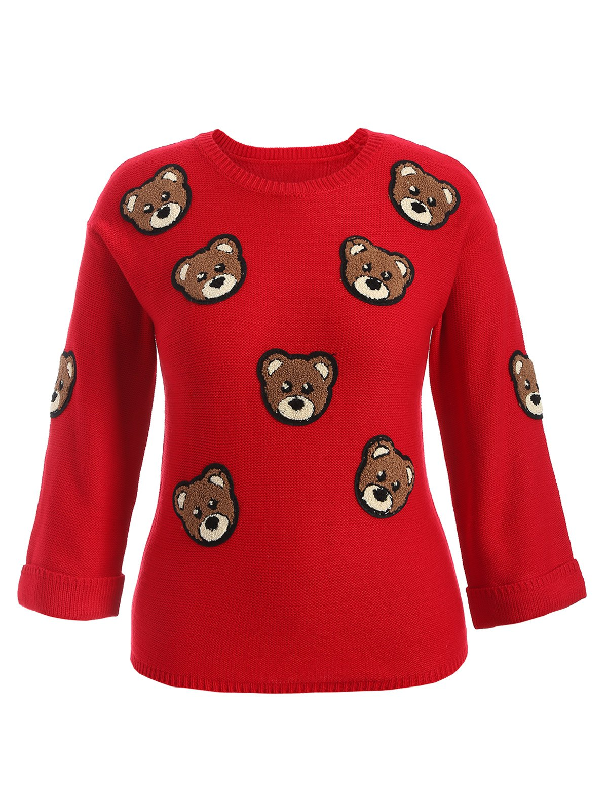 Bear Patched Plus Size Pullover SweaterWOMEN<br><br>Size: 4XL; Color: RED; Type: Pullovers; Material: Cotton,Polyester; Sleeve Length: Full; Collar: Crew Neck; Style: Fashion; Season: Fall,Spring; Pattern Type: Animal; Weight: 0.350kg; Package Contents: 1 x Sweater;