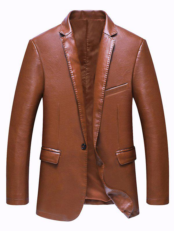 Trendy Pocket One Button Faux Leather Jacket