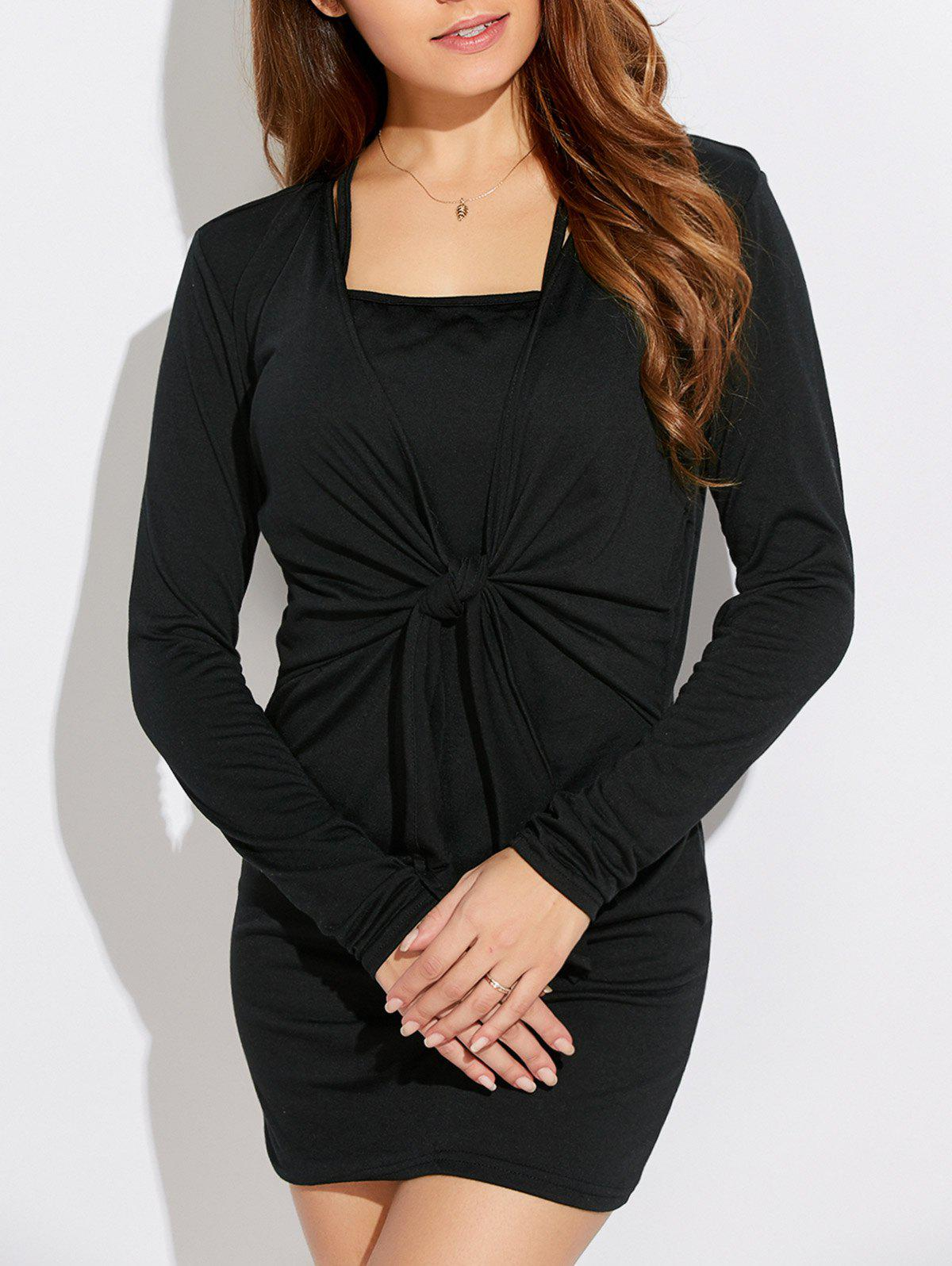 Fancy Casual Lace-Up Long Sleeve Popover Dress