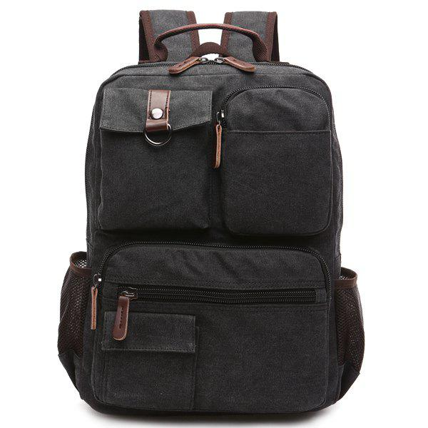 Outfits Pockets Canvas Colour Block Backpack