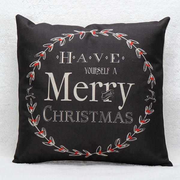 Merry Christmas Wreath Pillow CaseHOME<br><br>Color: BLACK; Material: Polyester / Cotton; Pattern: Printed; Style: Modern/Contemporary; Shape: Square; Size(CM): 45*45; Weight: 0.110kg; Package Contents: 1 x Pillow Case;