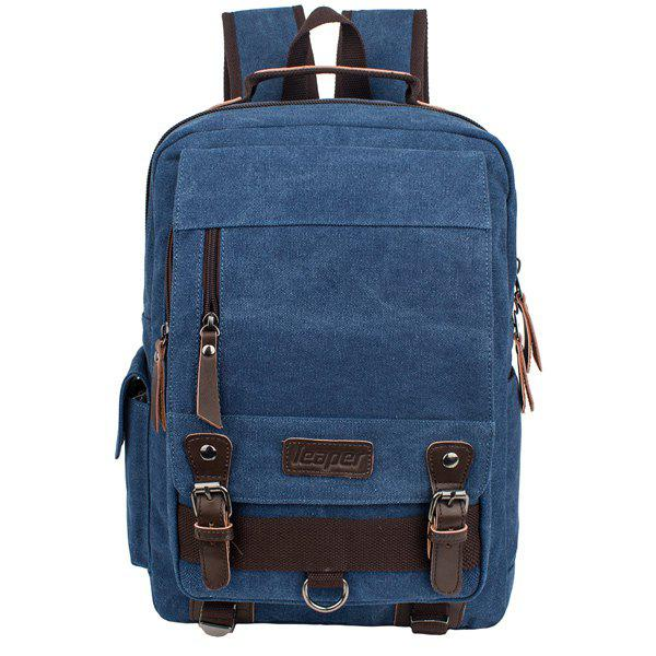 Buy Zippers Double Buckle Colour Spliced Backpack