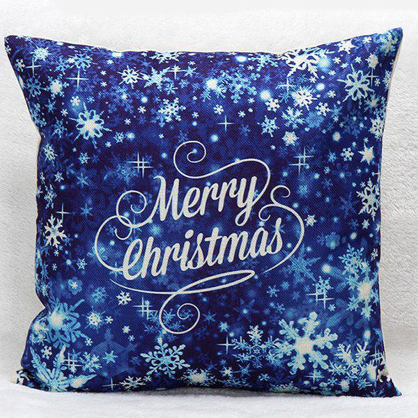 Sofa Merry Christmas Snow Pillow CaseHOME<br><br>Color: BLUE; Material: Polyester / Cotton; Pattern: Printed; Style: Modern/Contemporary; Shape: Square; Size(CM): 45*45; Weight: 0.110kg; Package Contents: 1 x Pillow Case;