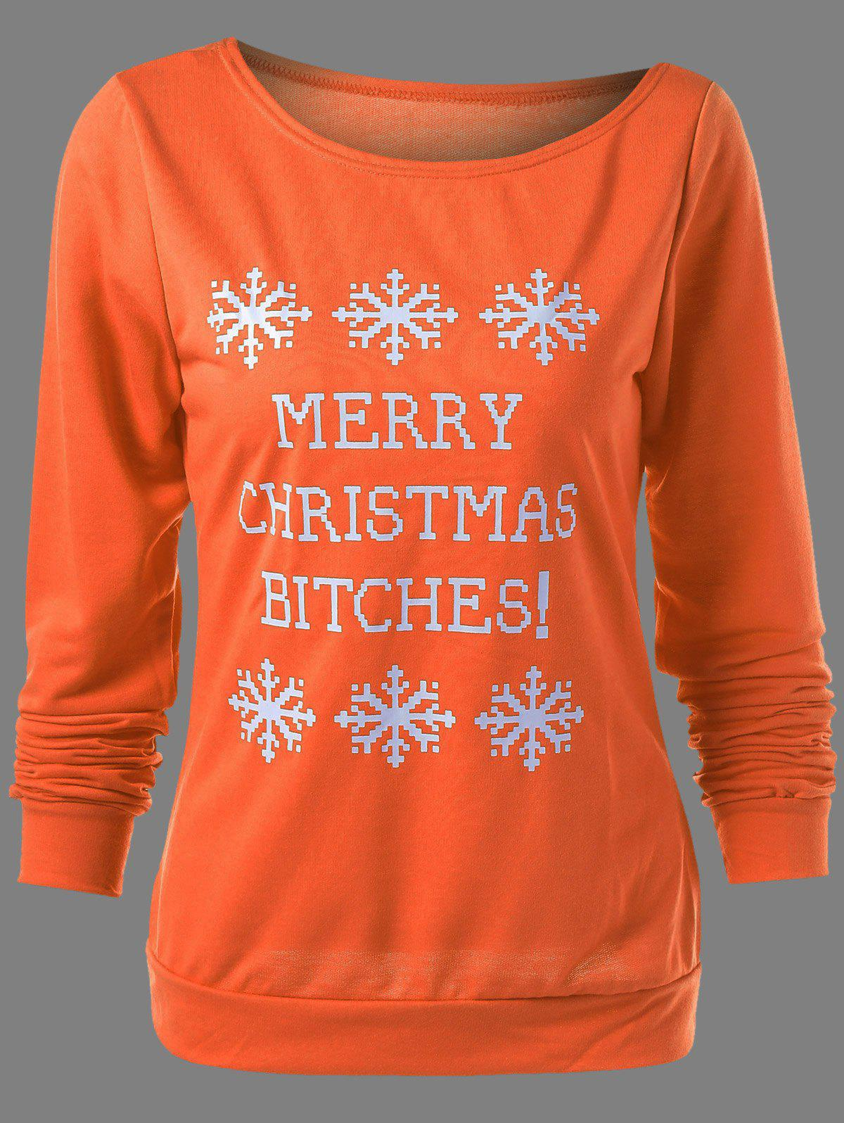 Plus Size Christmas Snowflake Print SweatshirtWOMEN<br><br>Size: 4XL; Color: ORANGE; Material: Cotton Blends; Shirt Length: Regular; Sleeve Length: Full; Collar: Skew Collar; Style: Casual; Season: Fall,Spring,Winter; Pattern Type: Letter; Weight: 0.620kg; Package Contents: 1 x Sweatshirt;