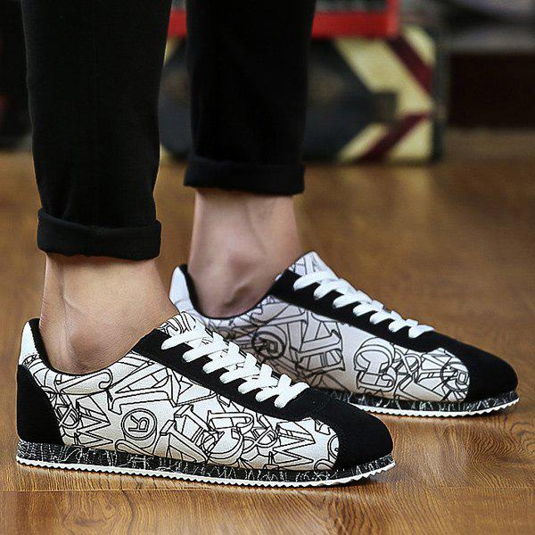 Trendy Letter Pattern Tie Up Casual Shoes