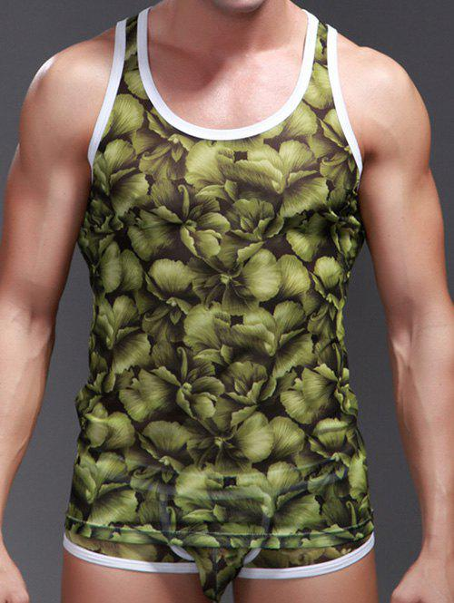 Fashion Contrast Trim 3D Leaf Print Racerback Tank Top