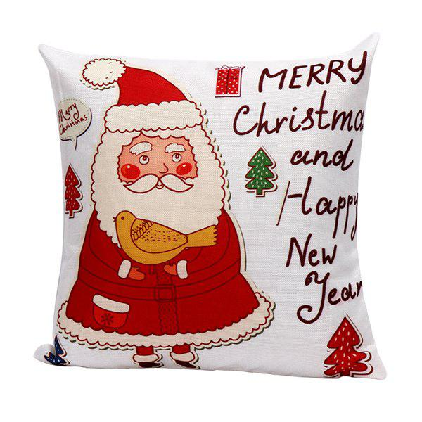 Sofa Cartoon Santa Claus Pillow CaseHOME<br><br>Color: RED; Material: Polyester / Cotton; Pattern: Printed; Style: Modern/Contemporary; Shape: Square; Size(CM): 45*45; Weight: 0.110kg; Package Contents: 1 x Pillow Case;