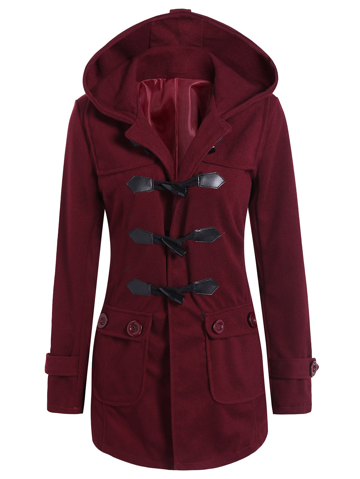 Hot Hooded Flap Pockets Duffle Coat