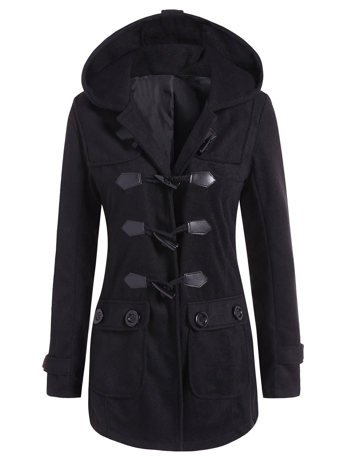 Outfit Hooded Flap Pockets Duffle Coat
