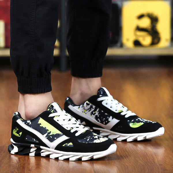 Fashion Colour Spliced Print Tie Up Athletic Shoes