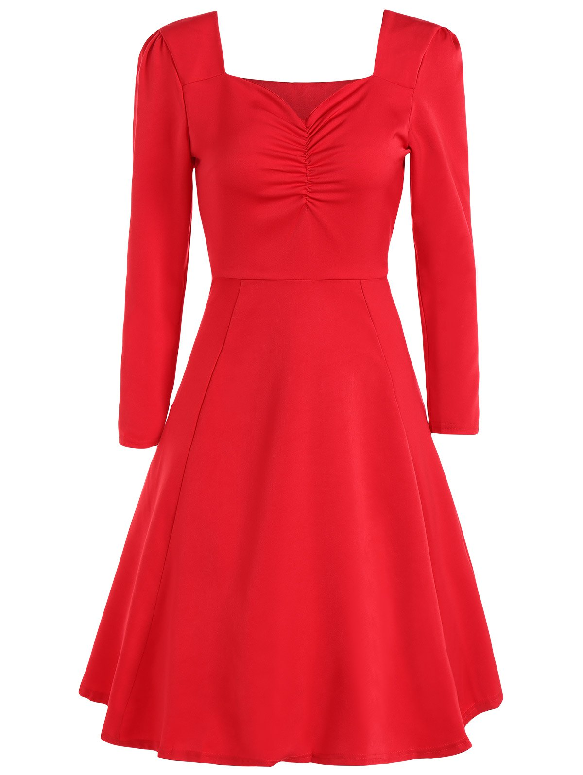 New Sweetheart Neck Long Sleeve Swing Flare Dress