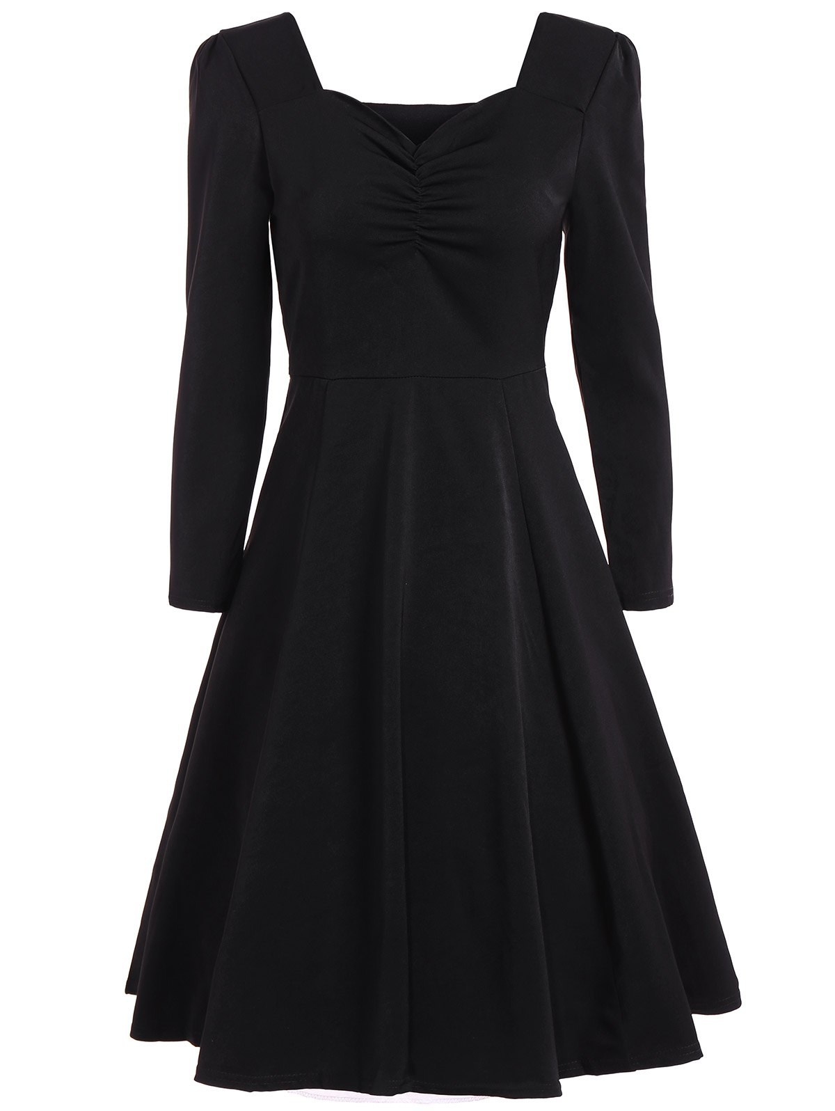 Online Sweetheart Neck Long Sleeve Swing Flare Dress
