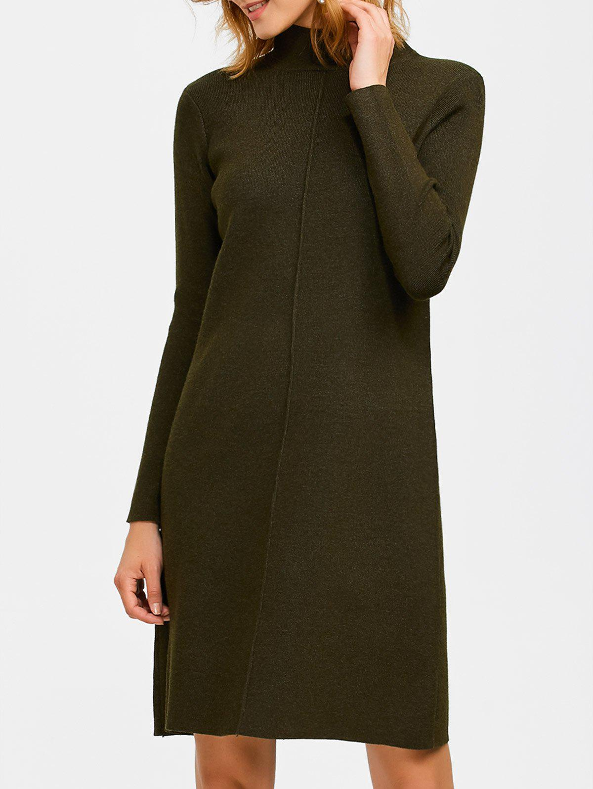 Trendy Knee Length Mock Neck Sweater Dress