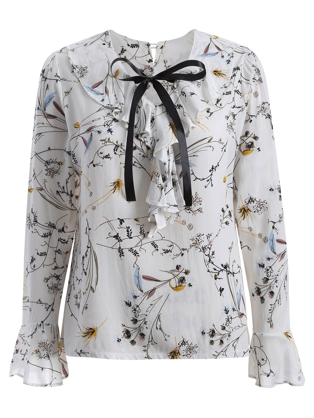 2018 pussy bow flower printed ruffled blouse in white 3xl rosegal latest pussy bow flower printed ruffled blouse mightylinksfo
