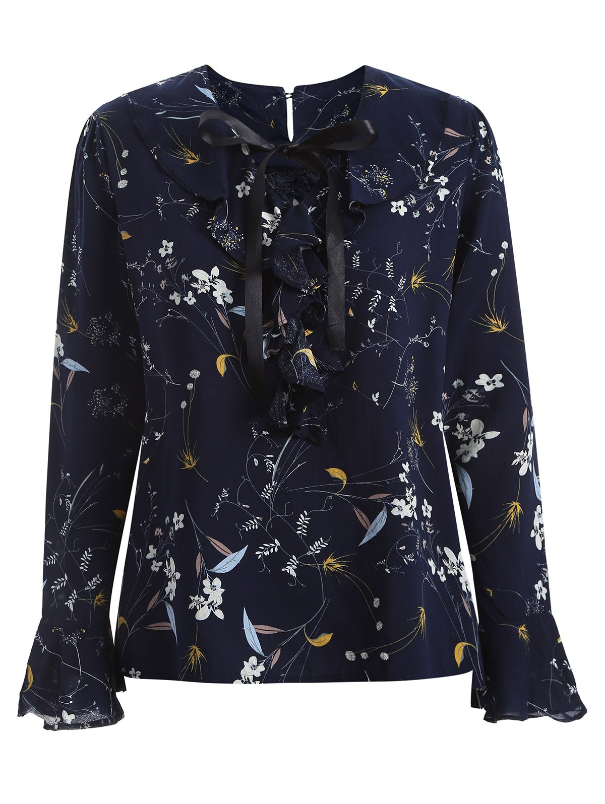 Online Floral Print Pussy Bow Blouse