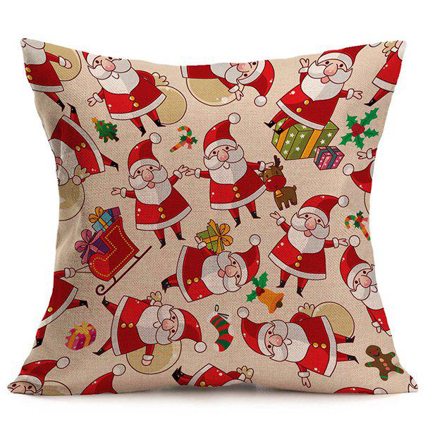 Cartoon Santa Claus Cushion Christmas Pillow CaseHOME<br><br>Color: COLORMIX; Material: Polyester / Cotton; Pattern: Printed; Style: Modern/Contemporary; Shape: Square; Size(CM): 43*43; Weight: 0.120kg; Package Contents: 1 x Pillow Case;