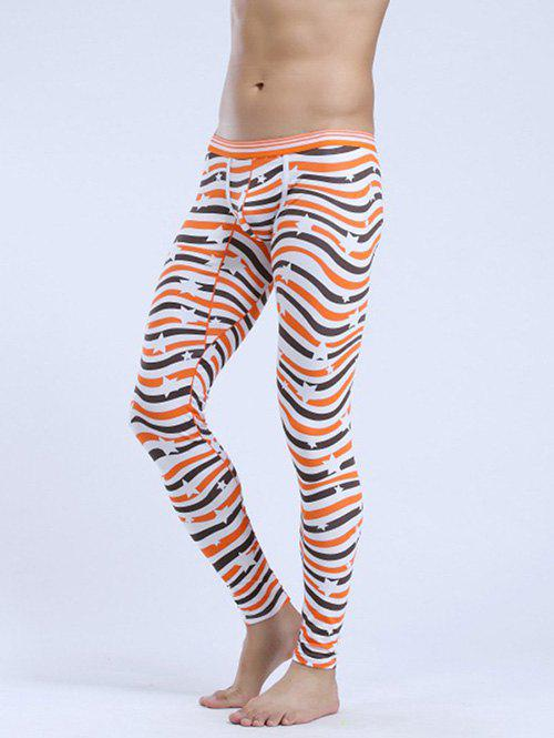 Abstract Striped Elastic Waist Thermal Long JohnsMEN<br><br>Size: L; Color: ORANGE; Material: Cotton Blends; Pattern Type: Striped; Weight: 0.153kg; Package Contents: 1 x Long Johns;
